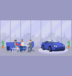 Car dealer consultation flat vector