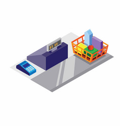 cashier machine and shopping cart isometric vector image