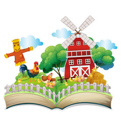 Chickens and scarecrow by the barn vector