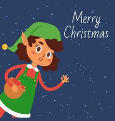 christmas elf girl cartoon vector image