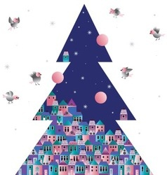 Christmas tree old town and the birds vector