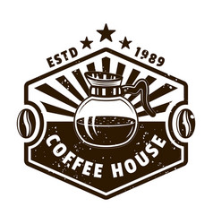coffee house vintage emblem with glass pot vector image
