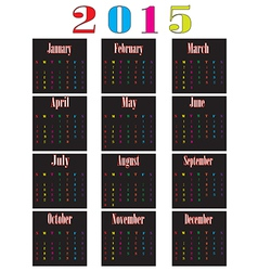 colorful calendar for 2015 starts sunday vector image