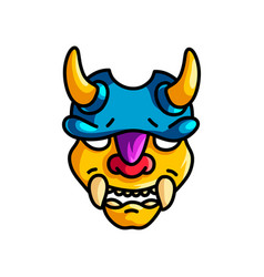 colorful yellow horns mask with blue helmet and vector image