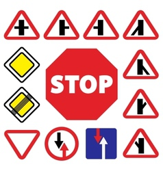 colorfull traffic auto signs vector image