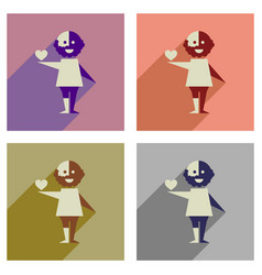Concept of flat icons with long shadow no racism vector