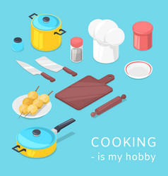 cooking utensils and food background vector image