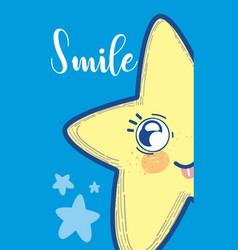 Cute card with star cartoon vector
