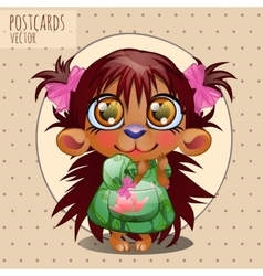 Cute character hedgehog girl series cartoon vector image