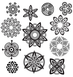 decorative flower round ornament mandala line vector image