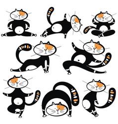 Different cartoon cats set vector