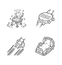 Disabled devices linear icons set shower chair vector