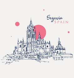 Drawing sketch cathedral segovia spain vector