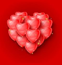 elegant 3d red heart shaped balloons vector image