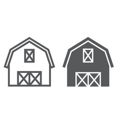 Farm barn line and glyph icon farming vector