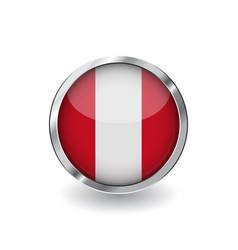 flag of peru button with metal frame and shadow vector image