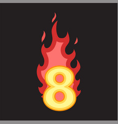 flaming number eight vector image