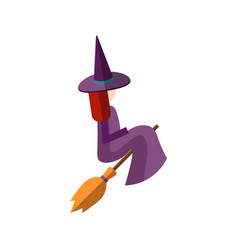 Flat cute witch sitting on vector