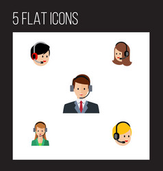 Flat icon telemarketing set of call center vector
