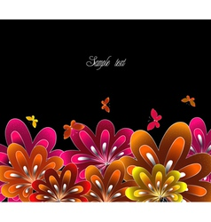 Flower red on black background vector
