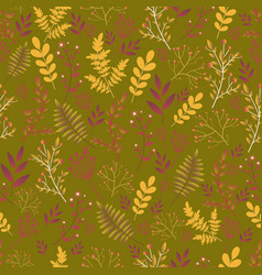 forest wild flowers seamless floral pattern vector image