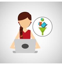 girl brunette using computer data analysis vector image