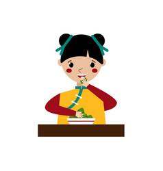 Girl eating triangular chinese dumplings vector