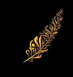 golden graffiti feather vector image