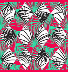 Green and red palm leaves and harlequin rhombs vector