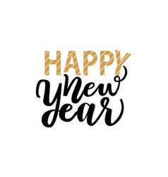 happy new year lettering text with calligraphics vector image
