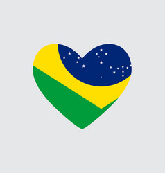 heart in colors of the brazil flag vector image