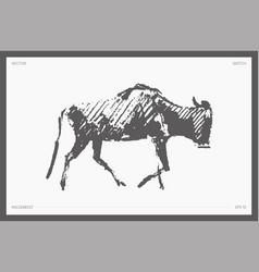 High detail hand drawn wildebeest sketch vector