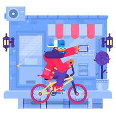 hipster man cycling his fixie bike in urban vector image