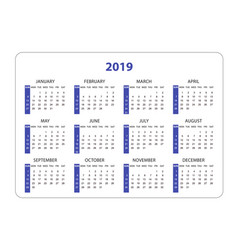 Horizontal pocket calendar on 2019 year simple vector