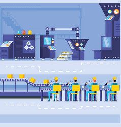 Industrial workers in technified factory vector