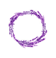 Lavender flower wreath watercolor vector