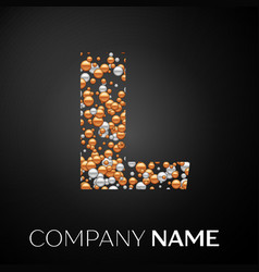 letter l logo gold-silver dots alphabet logotype vector image