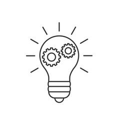Lightbulb with cogs line icon vector