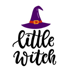 Little witch halloween party poster vector