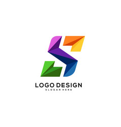 Logo s letter abstract full color vector