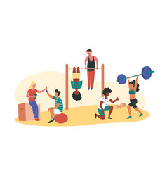 Man and women different race working out vector