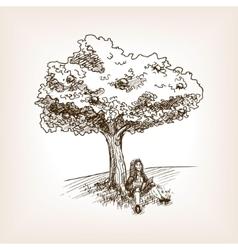 Medieval scientist apple tree sketch vector