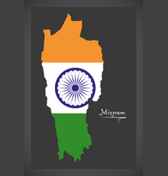 mizoram map with indian national flag vector image