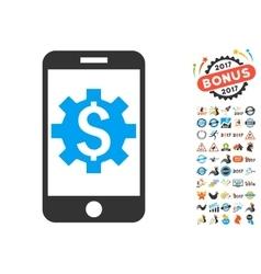 Mobile Bank Setup Icon With 2017 Year Bonus vector