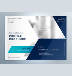 Modern blue geometric brochure presentation vector