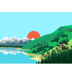 Mountain landscape in flat colors vector image