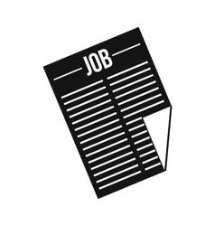 Newspaper with headline job icon simple style vector