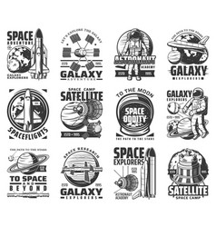 Outer space exploration galaxy astronaut icons vector