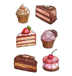 Patisserie sweet desserts scketch icons vector