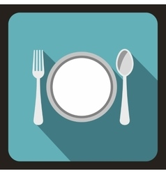 Plate with spoon and fork icon flat style vector image
